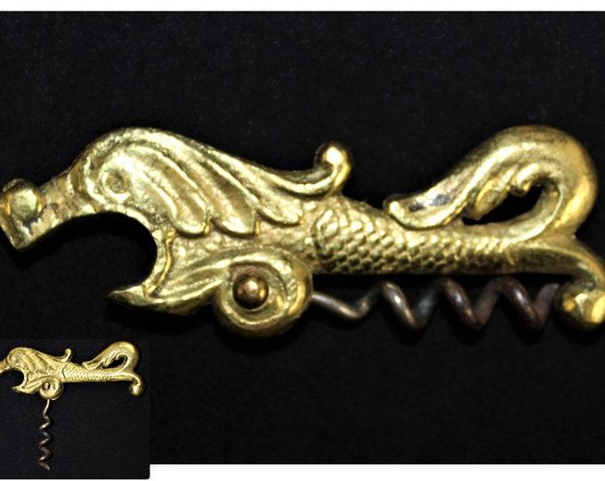 Antique Brass Sea Serpent Folding Corkscrew with Bottle Opener, Travel Wine Opener