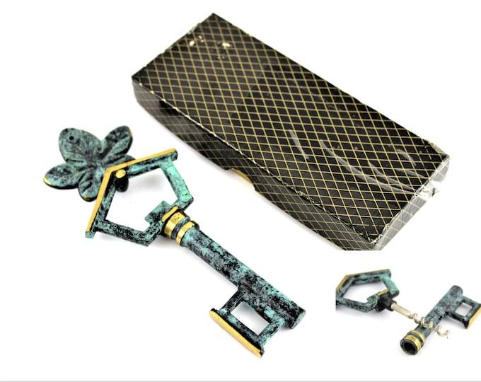 Vintage Corkscrew, Brass House Key with Hidden Corkscrew