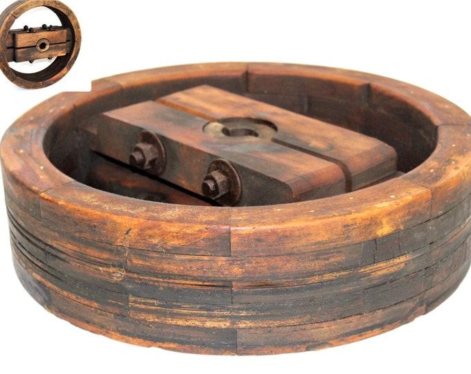 """Antique 18"""" Wooden Split Wheel Pulley, Belt Pulley, Farm Pulley"""