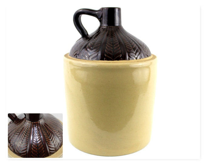 One Gallon Stoneware Crock Jug, Fern Pattern