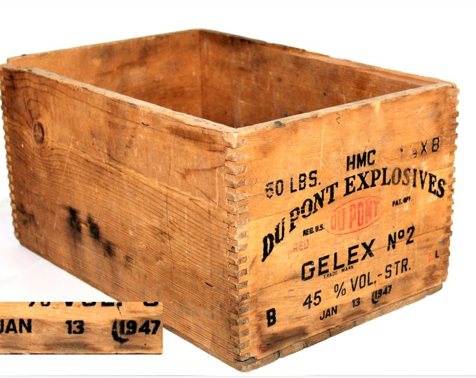 1947 Dupont Explosives Wood Shipping Crate, Dynamite Crate
