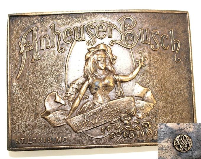 1970s Anheuser Busch Belt Buckle, Retro Belt Buckle