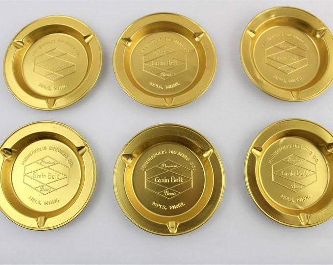 Vintage Barware, Collection of Six Grain Belt Ashtrays, 1963