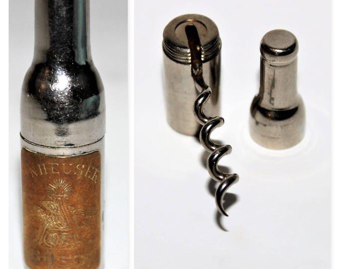 Antique Corkscrew, 1897 Anheuser Busch Bottle with Hidden Corkscrew
