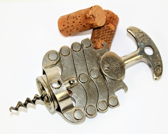 Vintage French Corkscrew / Zig Zag Concertina Corkscrew / Wine Bottle Opener