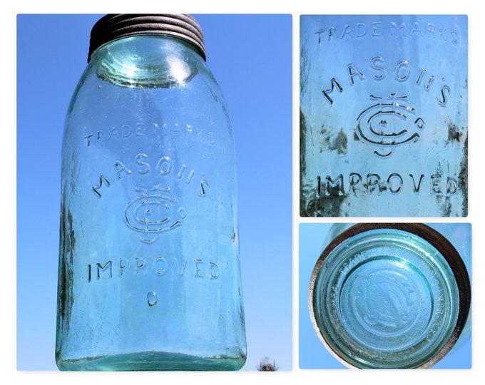 Antique Fruit Jar / Masons Improved Fruit Jar / Half Gallon Jar