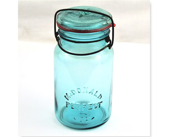Antique Canning Jar / McDonald Canning Jar / Blue Glass Jar / Blue Canning Jar