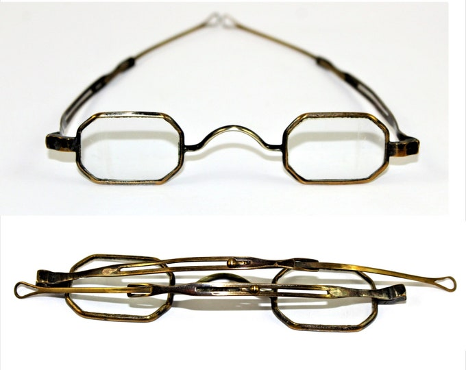Antique Eyeglasses / 1830s, Pin-in-Slot Telescopic Temples / Loop Slide / Jack Downing