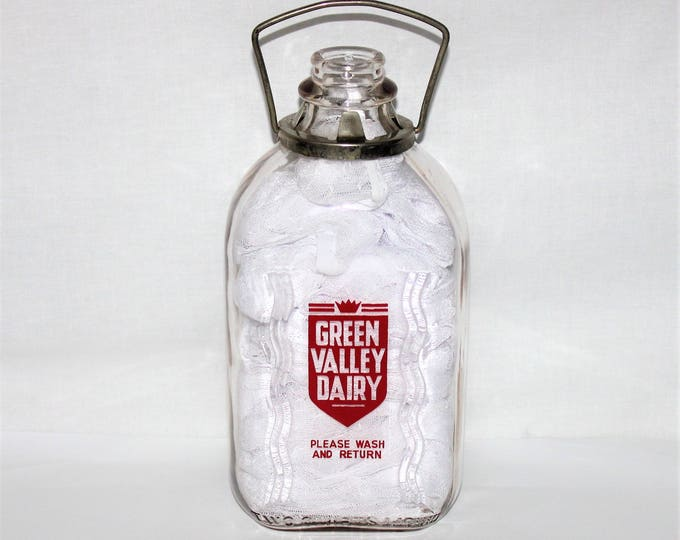 Vintage Two Quart Green Valley Dairy Glass Milk Bottle with Metal Handle