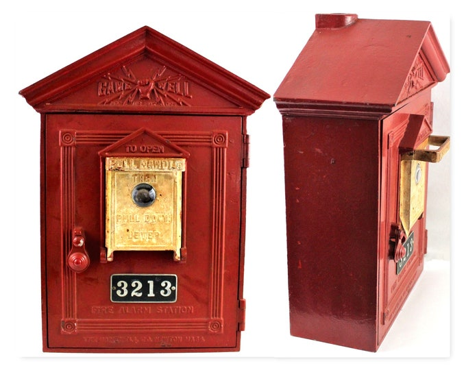 Vintage Fire Alarm, Gamewell Station Box, Fire Alarm Pull Station, Firehouse Decor, 1940s