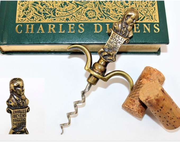 Antique British Brass Figural Corkscrew, Charles Dickens Corkscrew, Wine Bottle Opener