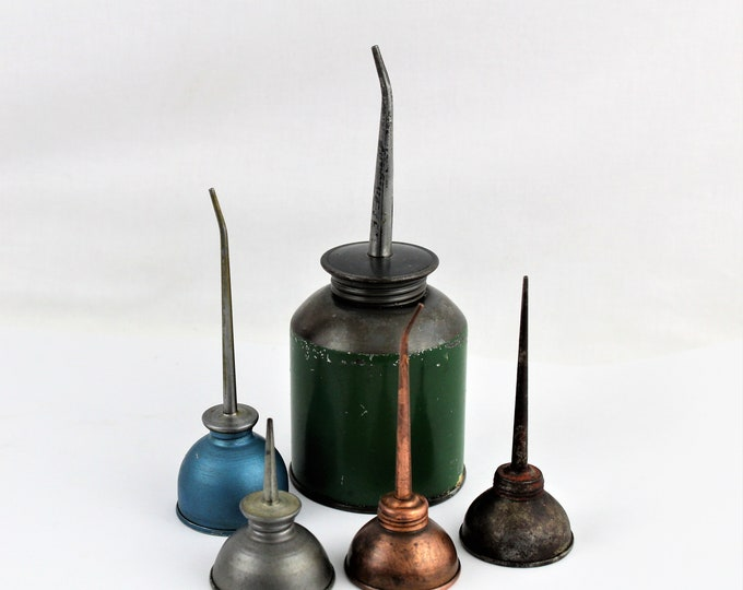 Collection of Five Vintage Oil Cans, Thumb Oilers