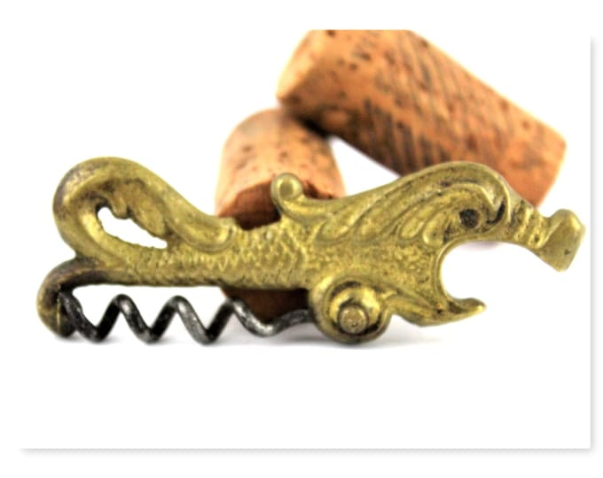 Antique Barware / Brass Dragon / Sea Serpent / Corkscrew / Antique Corkscrew