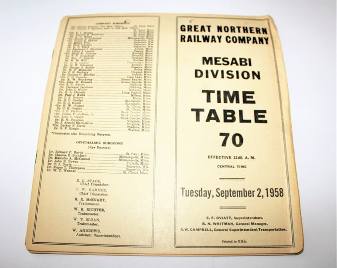 1958, Great Northern Railroad Time Table Mesabi Division, Railroadiana