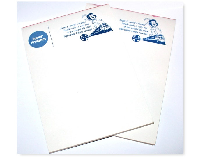 Vintage Advertisement Notepads, Santa Fe Railroad, Railroad Memorabilia, Stationary Notepad, Railroadiana