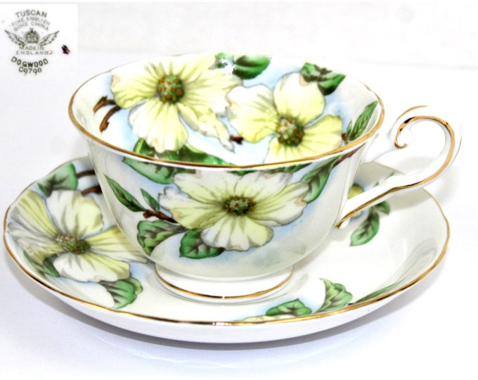 Tuscan Fine China / Tea Cup and Saucer / Dogwood Pattern / English Tea Cup / Collectible Tea Cup