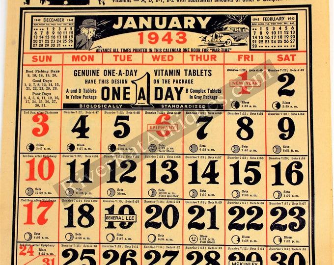 Vintage 1943 Drug Store Calendar, WWII