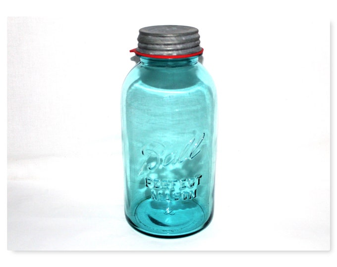 Vintage Fruit Jar / Half Gallon Size / Blue Glass Jar / Ball Canning Jar / Farmhouse Decor