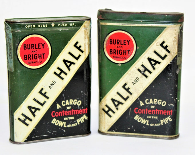 Vintage Tobacciana / Half and Half Tobacco Tins / Collectible Tins