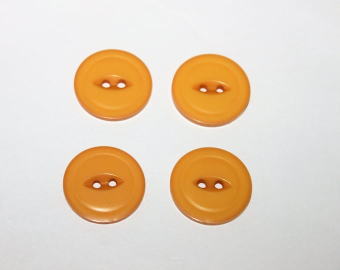 Antique Bakelite Buttons, 4 Matching, Yellow Buttons