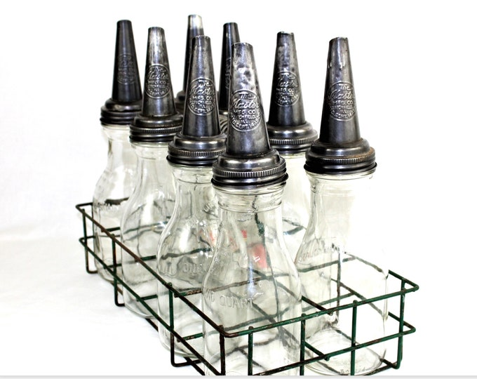 1930s The Master Co. 8 Glass Oil Bottles and Spouts, Petroliana Collectibles