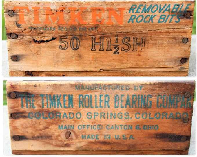 Vintage Wood Crate / Timken Rock Bits / Wooden Shipping Crate