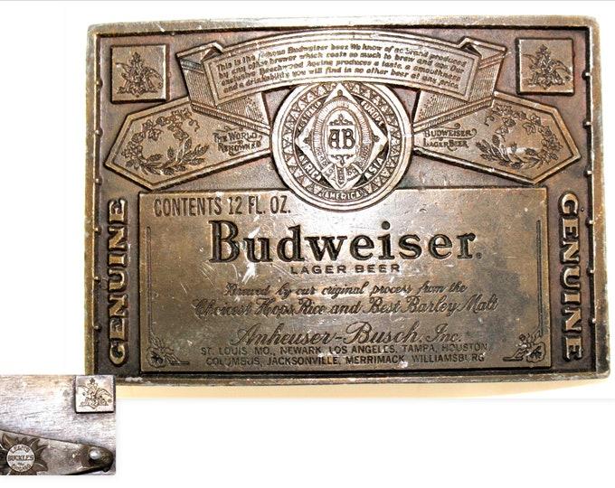 1970s Budweiser Belt Buckle, Retro Belt Buckle, Breweriana