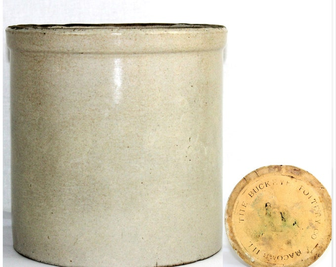 Antique Stoneware Crock /  One Gallon Crock / Buckeye Pottery Co /  Stoneware Crock / Farmhouse Pottery