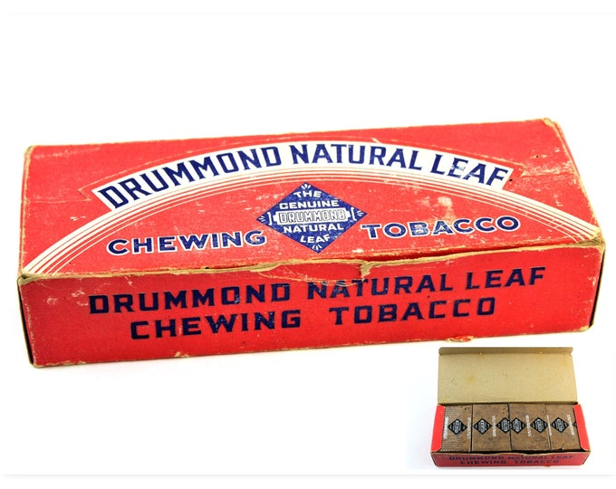 Vintage Box of Drummond Natural Leaf Chewing Tobacco (NOS)