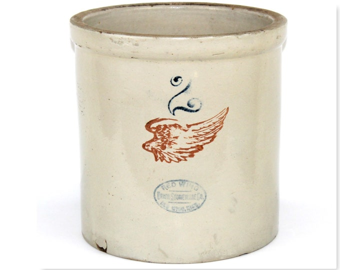 """Antique Crock / Red Wing Pottery / Two Gallon Crock / 4"""" Red Wing Pottery Logo / Pickling Crock"""