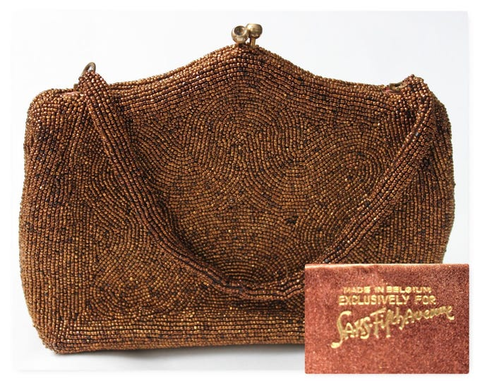 Mid Century Purse, 1955 Beaded Purse made in Belgium Exclusively for Saks Fifth Avenue