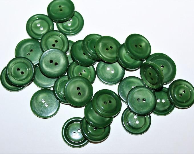 "Vintage 3/4"" Jade Green Buttons, Housedress Buttons"
