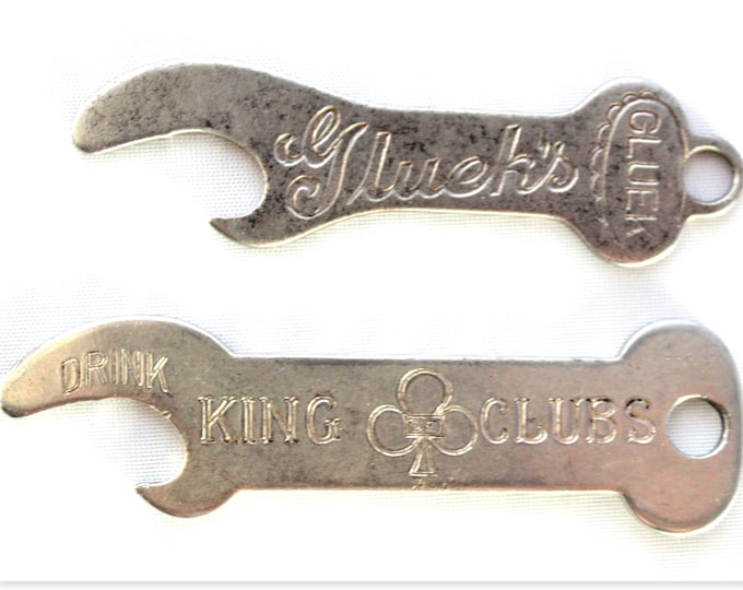 Vintage Pair Keychain Bottle Openers, Gluek's Ale, King of Clubs Beer, Breweriana