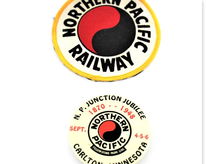 1948 Northern Pacific Railroad Yellowstone Park Line N.P. Junction Jubilee Pin and Northern Pacific Railway sew on Patch