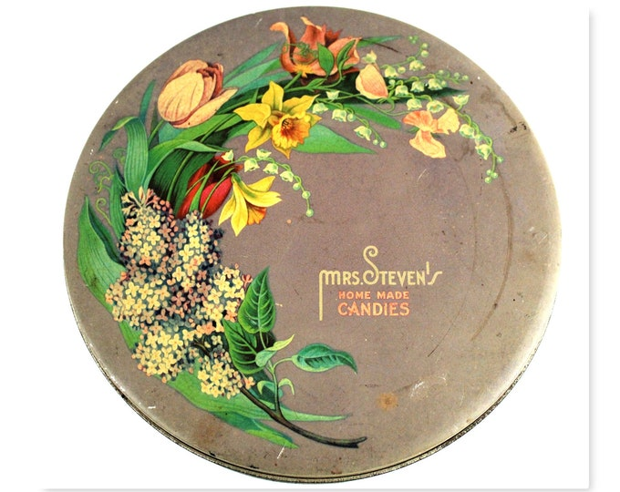 1940s Mrs. Stevens Candies tin