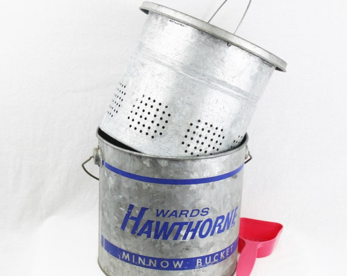 Vintage 1950s Hawthorne Galvanized Steel Minnow Bucket, Fishing Bucket