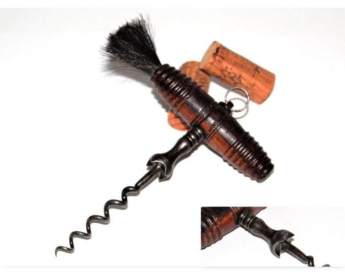 Antique Corkscrew, English Corkscrew with Gripping Easer and Horse Hair Dusting Brush, Wine Opener