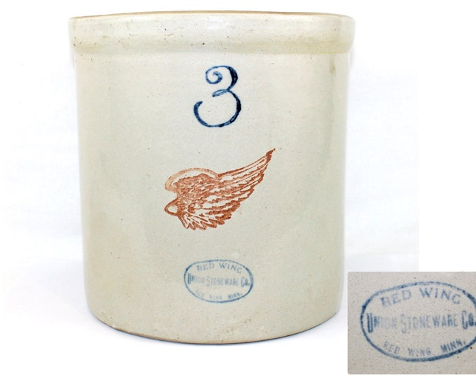 Antique Fermenting Crock / Red Wing Union Stoneware / Three Gallon Pickle Crock / Collectible Crock