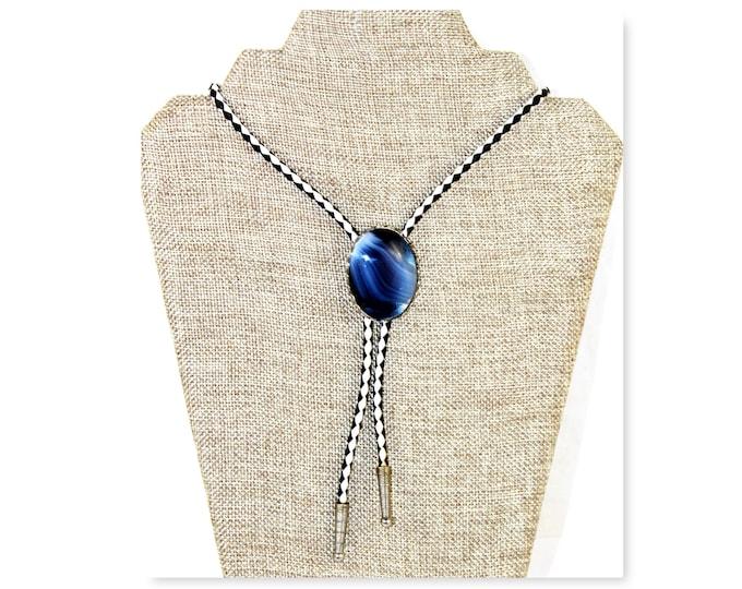 Vintage Blue Onyx Gemstone Western Bolo Tie