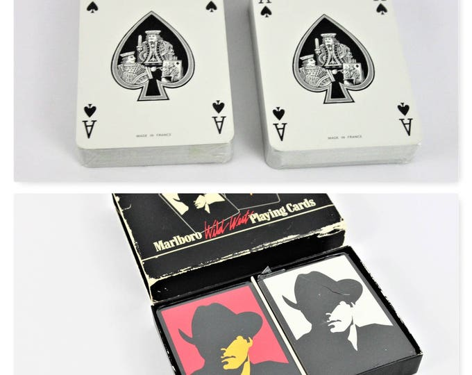 Vintage Marlboro Cigarette Wild West Playing Cards, Box Contains Two Sealed Decks of Playing Cards