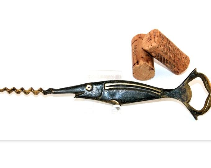 Vintage 1950s Hakuli Brass Swordfish Corkscrew and Bottle Opener, Wine Bottle Opener