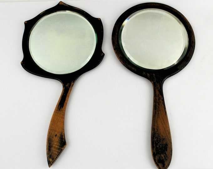 Antique Pair of Wood Frame Hand Mirrors