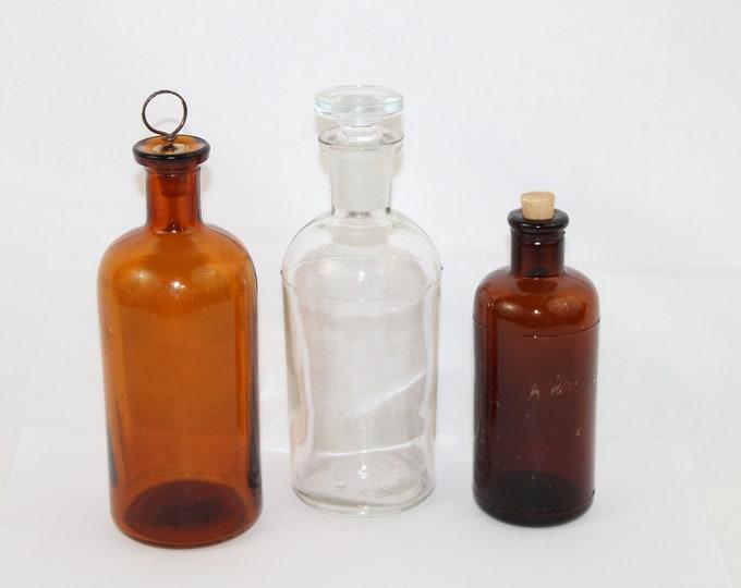 Three Antique Apothecary Medicine Bottles, Elixir Bottles, Cork Bottles