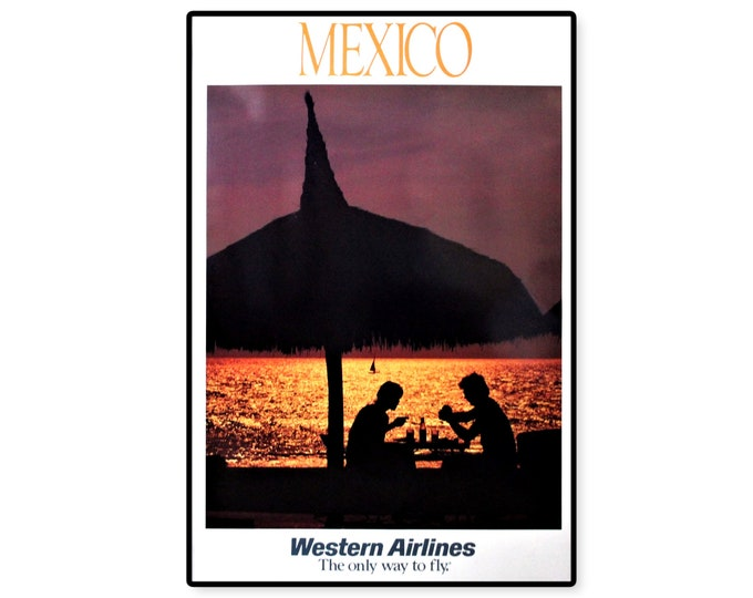 Vintage 1970s Western Airlines Travel Poster Featuring Sunset in Mexico, Unframed