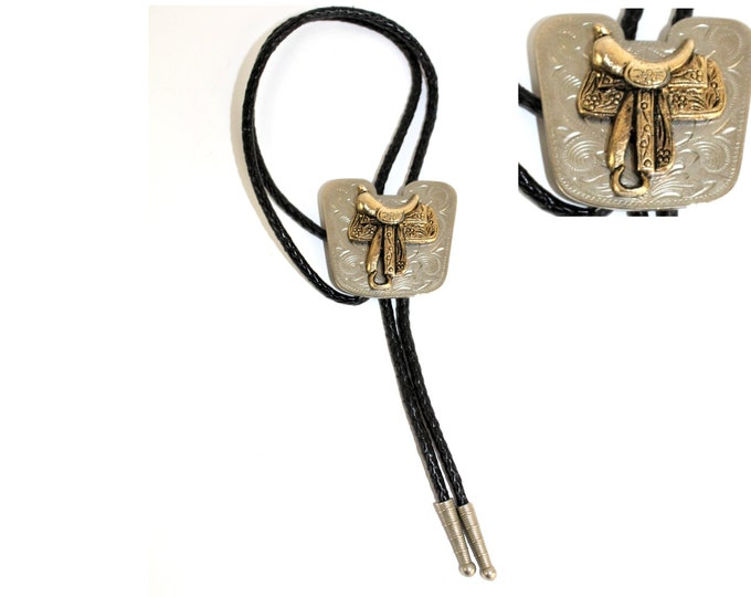 Western Bolo Tie with Horse Saddle Pendent