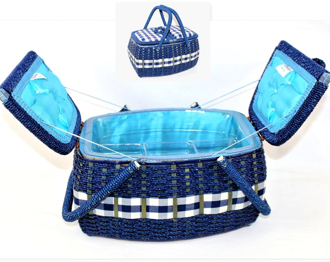 Vintage Woven Rattan and Gingham Trimmed Royal Blue Sewing Basket with Organizer Insert