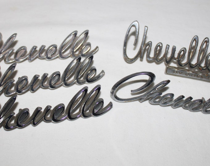 Five (5)  Vintage 1969-70s Chevrolet Chevelle Car Badges, Emblems, Original
