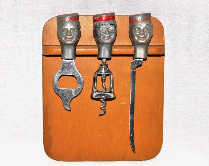Vintage Barware / Mid Century Bellboy Barware Set with Cutting Board / Collectible Wine Bottle Opener / Corkscrew