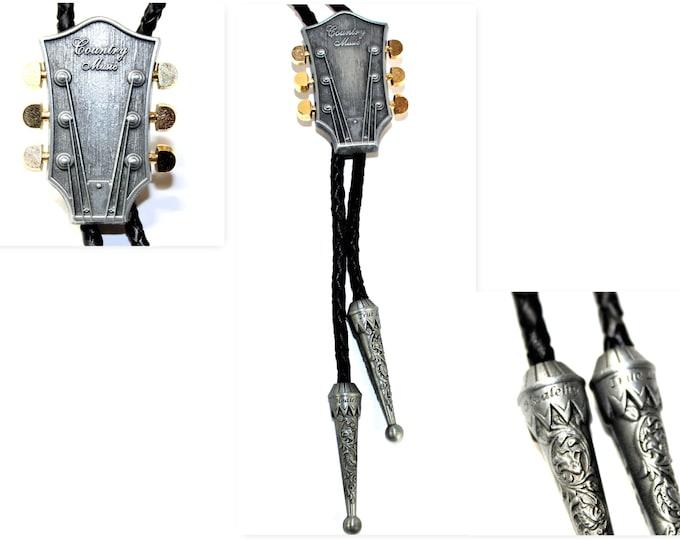 Vintage Country Music Western Bolo Tie,  Guitar Bolo Tie