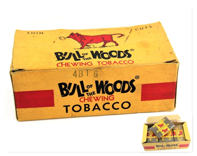 Vintage 1930s Box of Bull of the Woods Chewing Tobacco